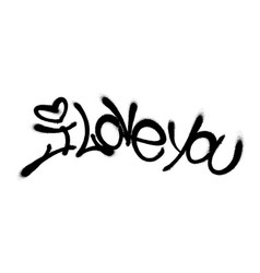 sprayed i love you font graffiti with overspray vector image