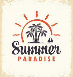 summer tropical banner with palms and sailboat vector image