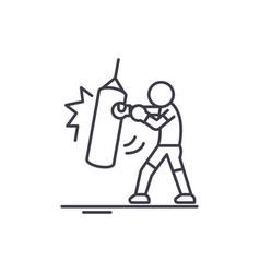 taekwondo line icon concept taekwondo vector image