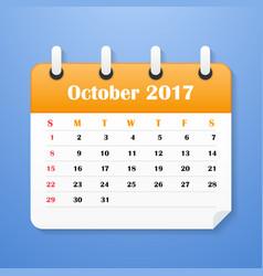 Usa calendar october for 2017 vector