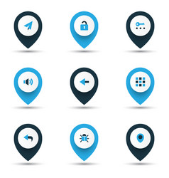 user icons colored set with unlock back apps and vector image