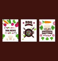 Vegetarian barbecue banner vegan grill menu cover vector