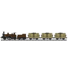 Vintage steam tank train vector