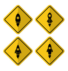 warning sign icon with a rocket launch vector image