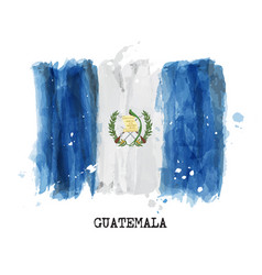 watercolor painting flag of guatemala vector image