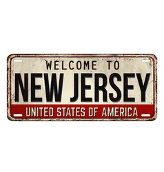 Welcome to new jersey vintage rusty metal plate vector