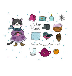 Winter set cute cartoon kitty and cozy things for vector