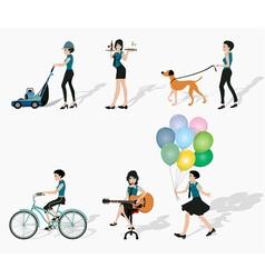 Women in action vector image