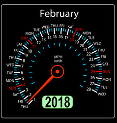Year 2018 calendar speedometer car in concept vector
