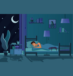 young tired man sleeping in bed covered with quilt vector image