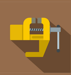 Yrllow vise tool icon flat style vector