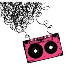 cassette heart tangled vector image vector image