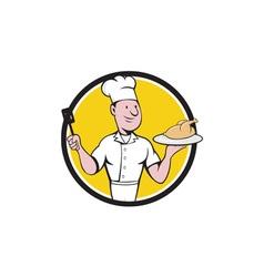 Chef Cook Roast Chicken Spatula Circle Cartoon vector image vector image