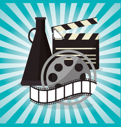 cinema film reel strip with speaker design vector image vector image