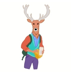 hipster deer in cool fashion clothes vector image vector image
