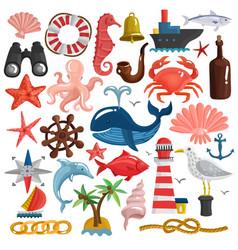 nautical elements and sea life set vector image