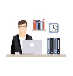 young businessman character working with laptop at vector image vector image