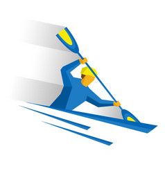 canoe slalom rower with paddle in boat vector image vector image