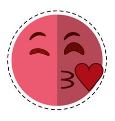cartoon kiss love emoticon funny vector image vector image