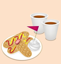 Hot Coffee in Disposable Cup with Hot Dog Waffles vector image vector image