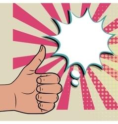 Like positive hand sign blue pop art background vector image vector image