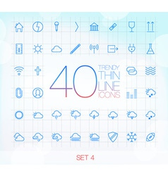 40 Trendy Thin Icons for web and mobile Set 4 vector image vector image
