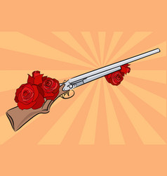 an old rifle with roses pop art vector image