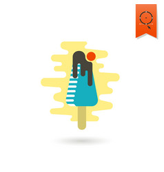 chocolate ice cream on a stick vector image