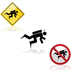 Diving signs vector image