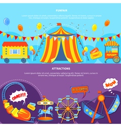 Funfair and attractions 2 flat banners vector image vector image