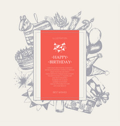 Happy birthday - modern drawn square postcard vector