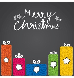 merry christmas gift box with different shape vector image vector image