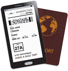 mobile phone with electronic boarding pass ticket vector image