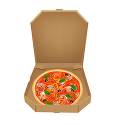 pizza in box vector image vector image