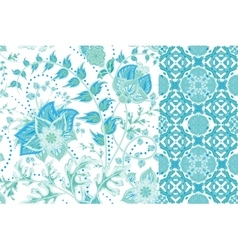Seamless floral patterns set Vintage flowers vector image vector image