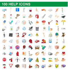 100 help icons set cartoon style vector image