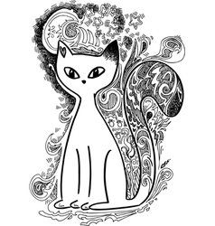 Cat in the moonlight sketchy doodles vector image