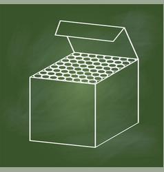 hand drawing chalk box on green board - vector image