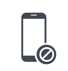 Mobile phone icon with not allowed sign vector