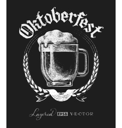 Oktoberfest lettering with beer glass vector image