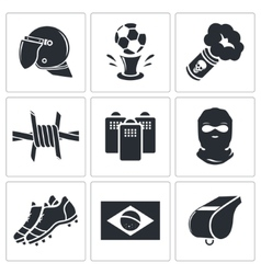 Soccer fans ultras icon collection vector