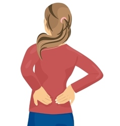 Woman having pain in her back vector image vector image