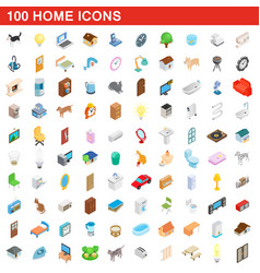 100 home icons set isometric 3d style vector
