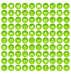 100 lorry icons set green circle vector