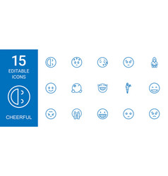 15 cheerful icons vector image
