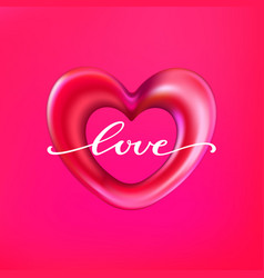 3d shiny foil balloon heart shape labeled love vector image