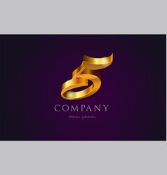 5 five gold golden number numeral digit logo icon vector