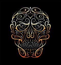 abstract skull shape gold pattern vector image