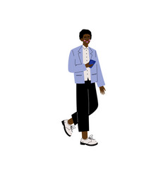 African american man in modern clothing with vector