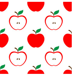 Apple and half red seamless pattern background vector